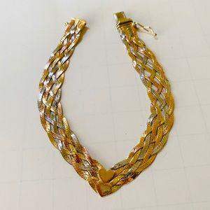 14K Gold Tricolor Woven Braided Bracelet